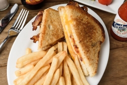 Grilled Cheddar Cheese  Bacon Sandwich