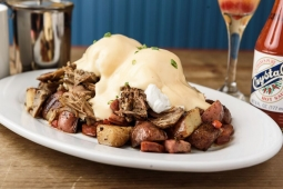 Pork Benedict with Andouille Potato Hash